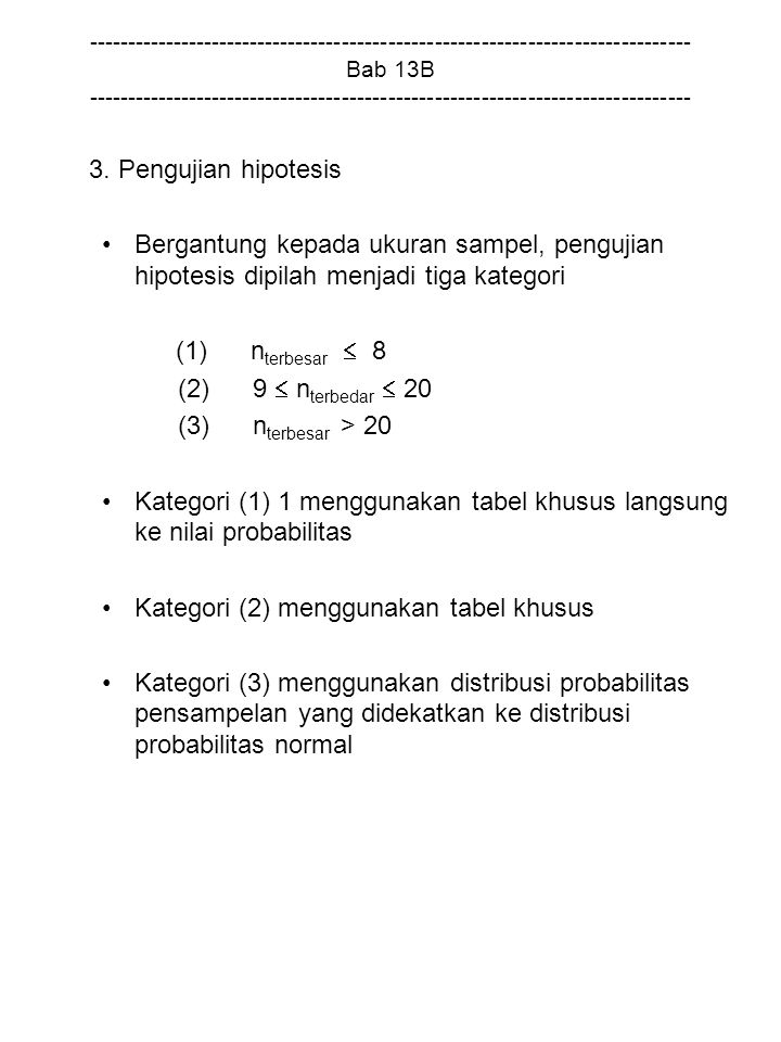 Kategori (1) 1 menggunakan tabel khusus langsung ke nilai probabilitas