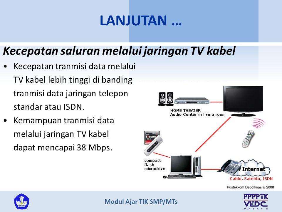 LANJUTAN … Kecepatan saluran melalui jaringan TV kabel