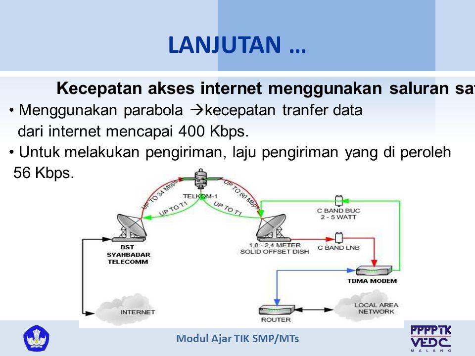 LANJUTAN … Kecepatan akses internet menggunakan saluran satelit