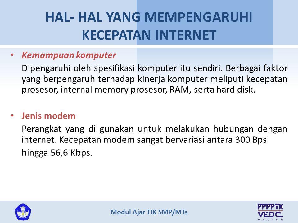 HAL- HAL YANG MEMPENGARUHI KECEPATAN INTERNET