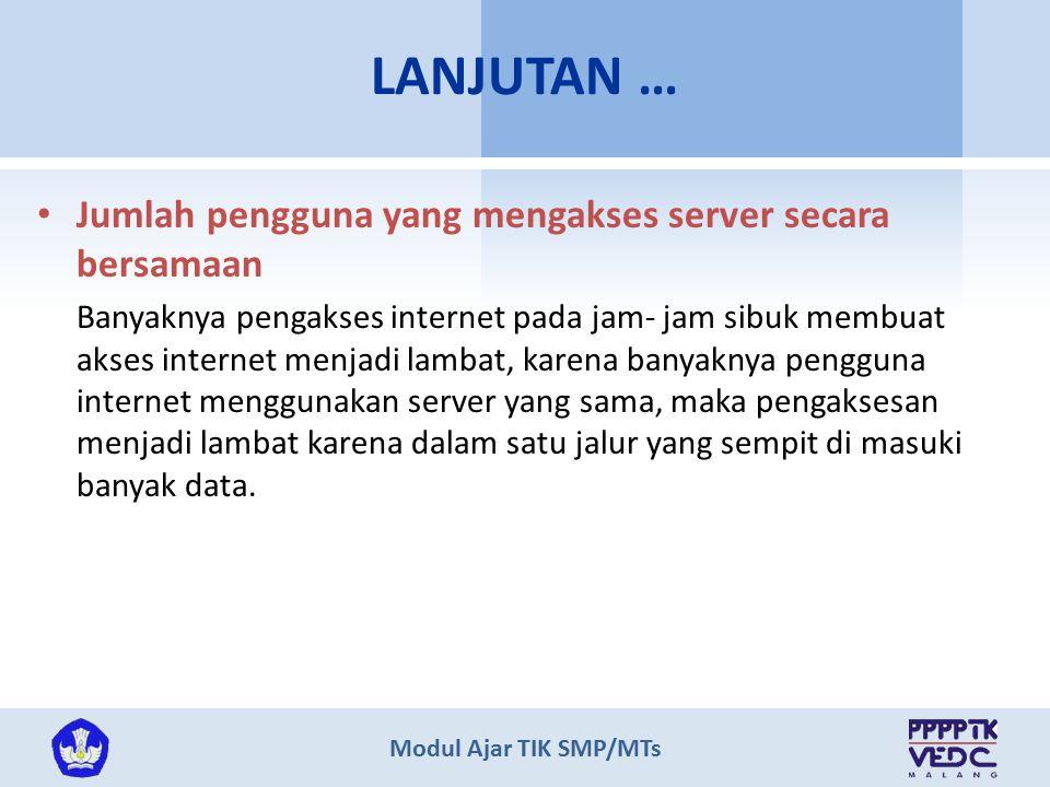 LANJUTAN … Jumlah pengguna yang mengakses server secara bersamaan
