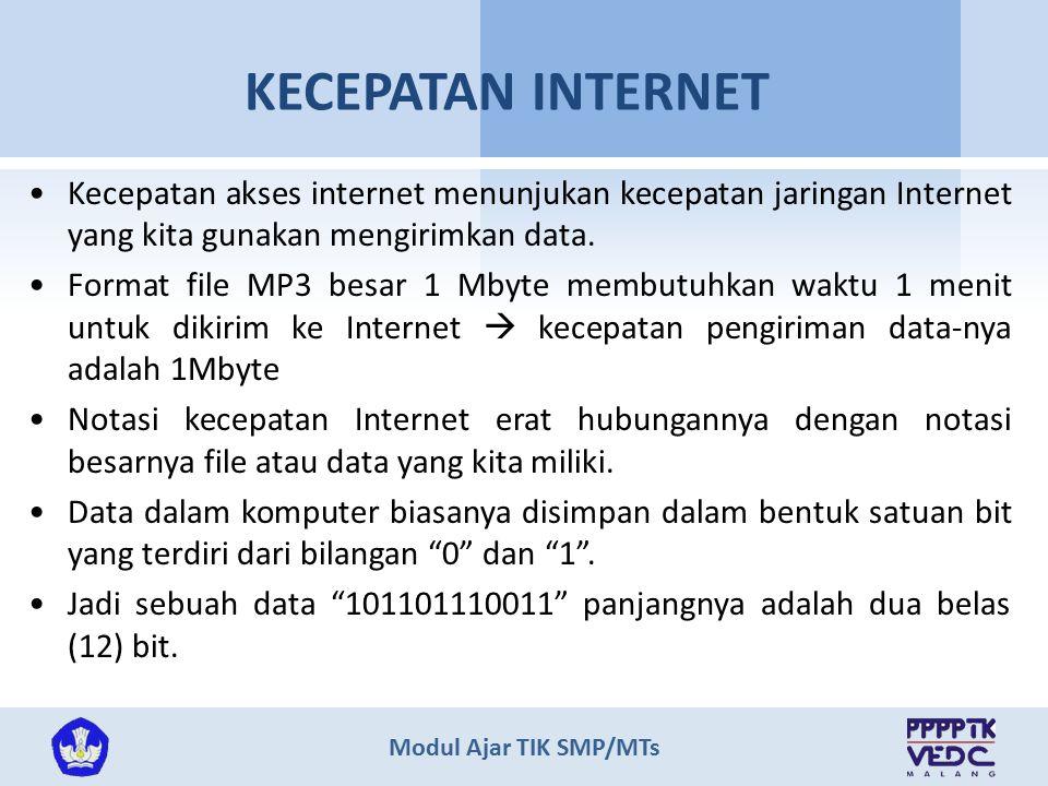 KECEPATAN INTERNET Kecepatan akses internet menunjukan kecepatan jaringan Internet yang kita gunakan mengirimkan data.