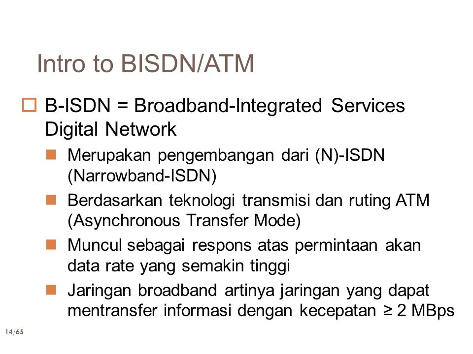 Intro to BISDN/ATM B-ISDN = Broadband-Integrated Services Digital Network. Merupakan pengembangan dari (N)-ISDN (Narrowband-ISDN)