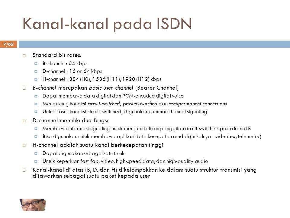 Kanal-kanal pada ISDN Standard bit rates: