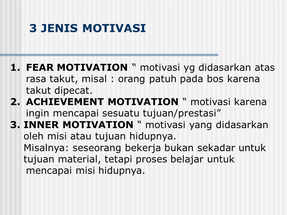 3 JENIS MOTIVASI FEAR MOTIVATION motivasi yg didasarkan atas
