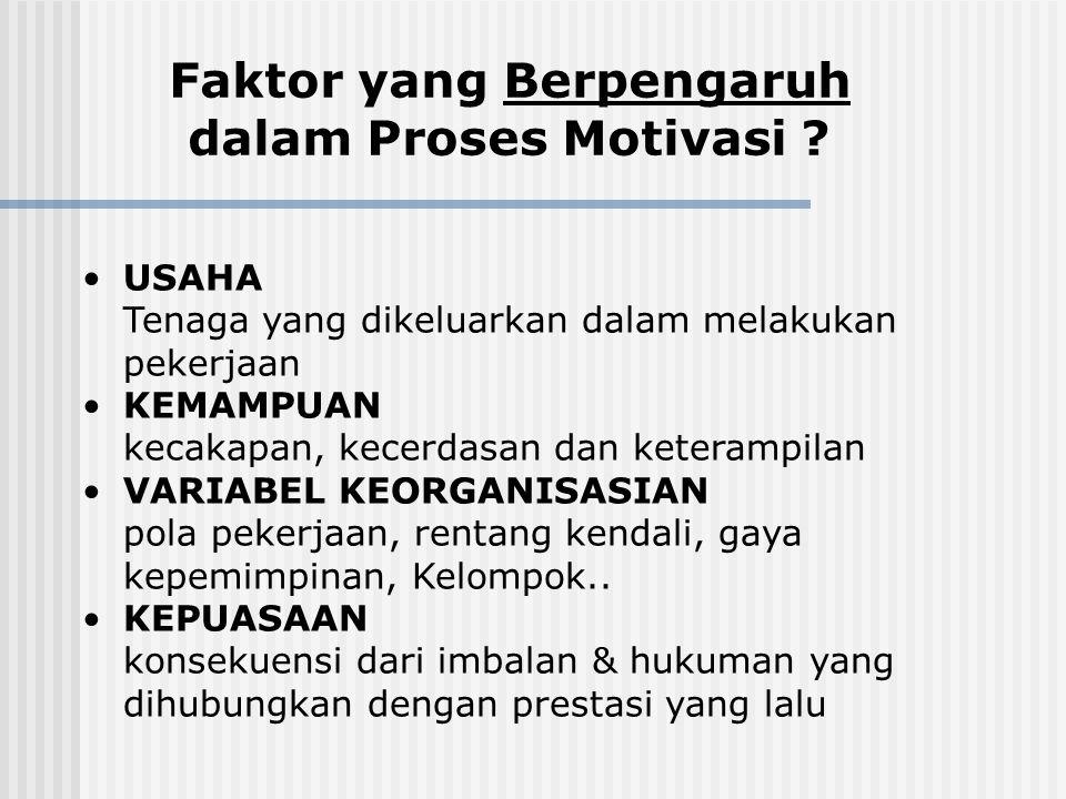 Faktor yang Berpengaruh dalam Proses Motivasi