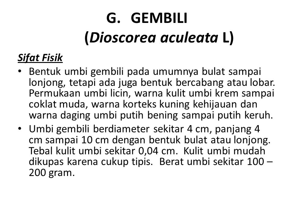 GEMBILI (Dioscorea aculeata L)