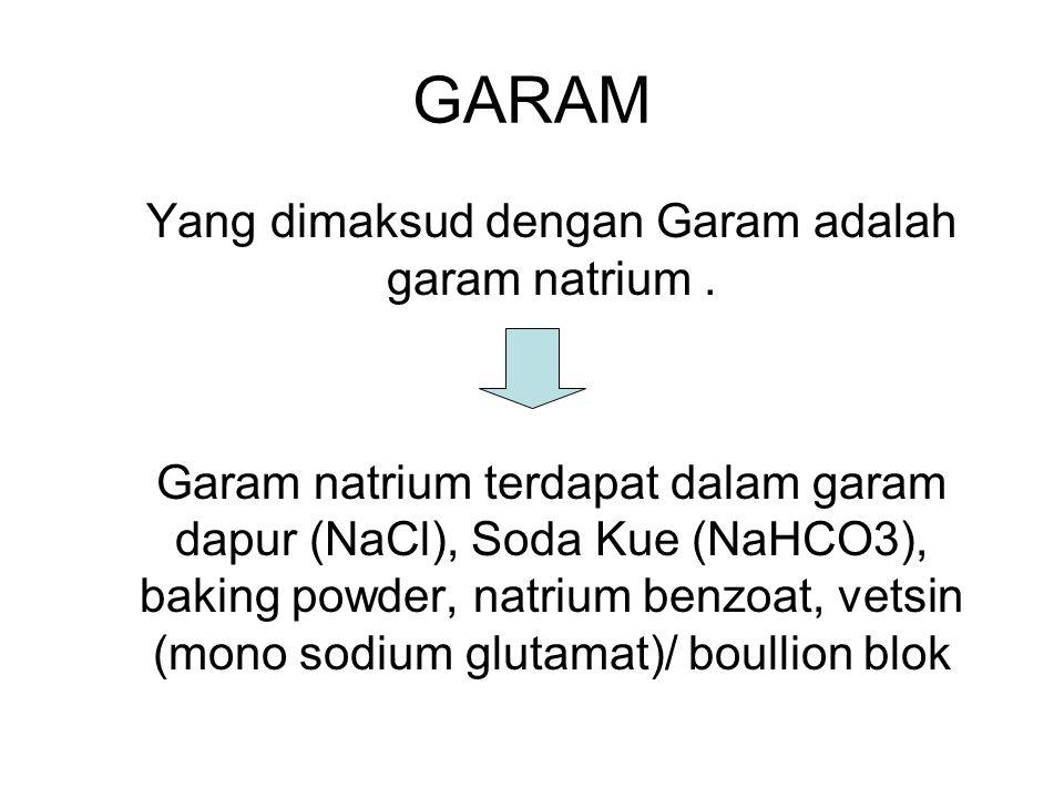 Yang dimaksud dengan Garam adalah garam natrium .