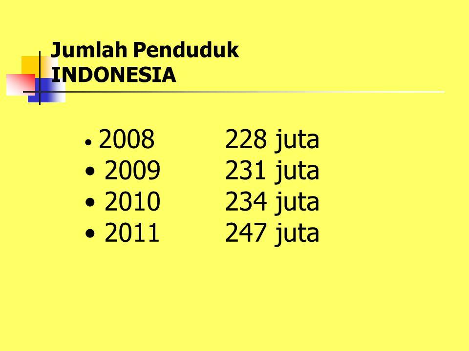 2009 231 juta 2010 234 juta 2011 247 juta Jumlah Penduduk INDONESIA