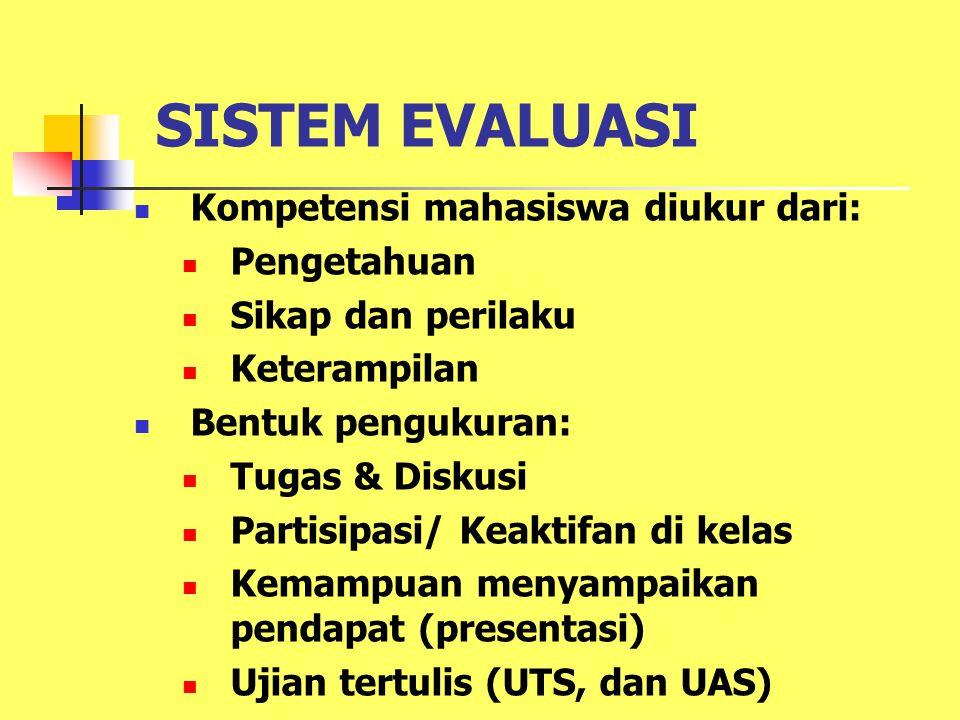 SISTEM EVALUASI Kompetensi mahasiswa diukur dari: Pengetahuan