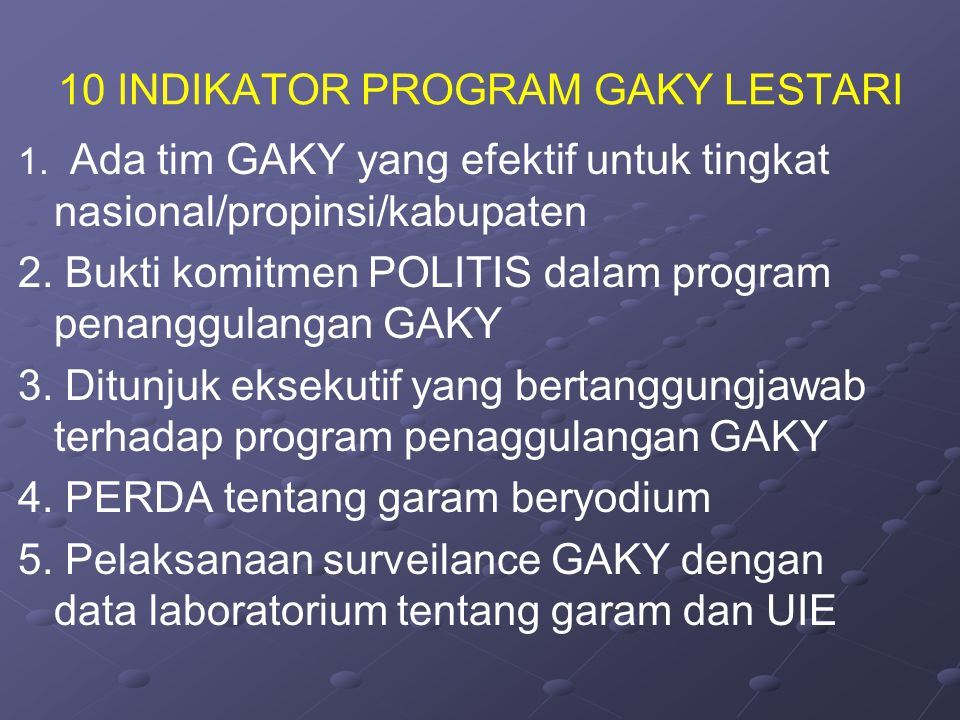 10 INDIKATOR PROGRAM GAKY LESTARI