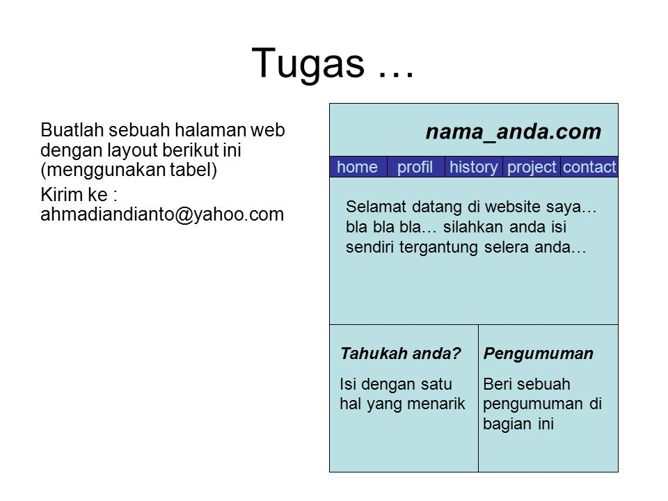 Tugas … Buatlah sebuah halaman web dengan layout berikut ini (menggunakan tabel) Kirim ke : ahmadiandianto@yahoo.com.
