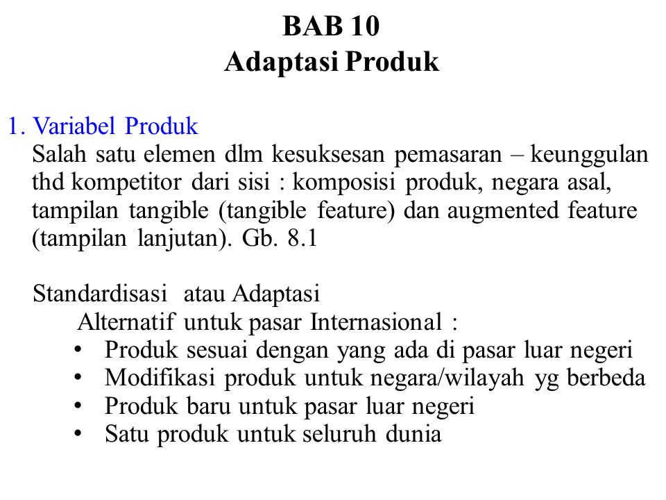 BAB 10 Adaptasi Produk 1. Variabel Produk