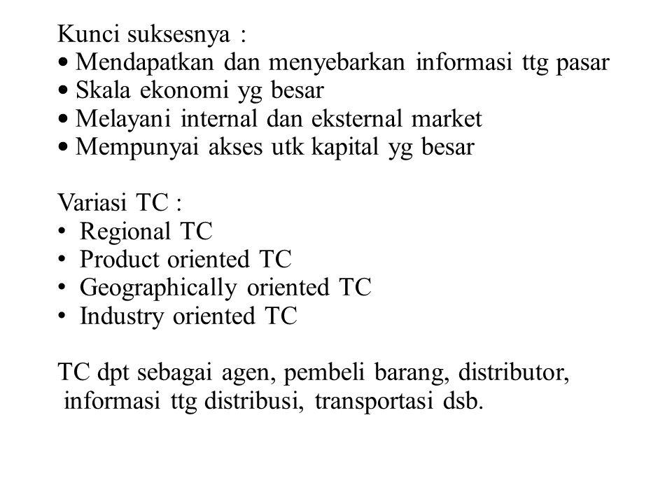 Mendapatkan dan menyebarkan informasi ttg pasar Skala ekonomi yg besar
