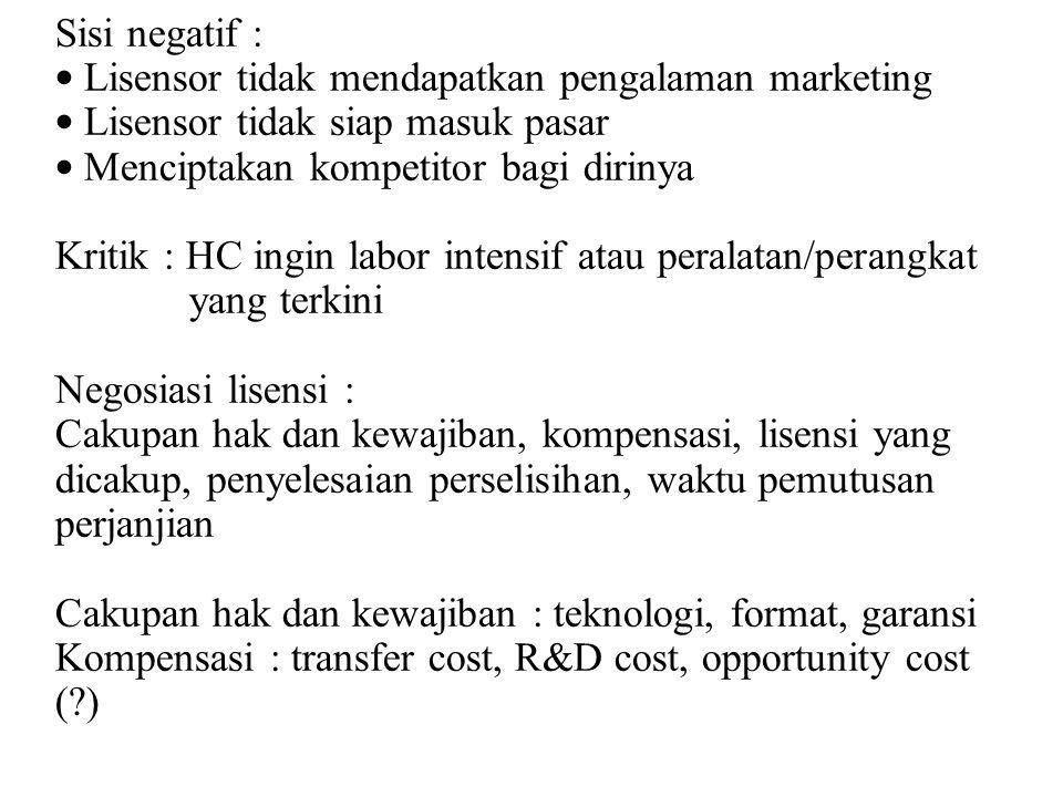 Sisi negatif : Lisensor tidak mendapatkan pengalaman marketing. Lisensor tidak siap masuk pasar. Menciptakan kompetitor bagi dirinya.