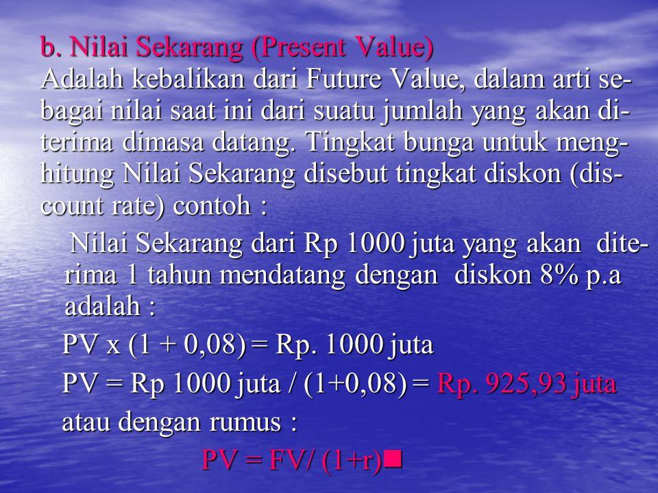 b. Nilai Sekarang (Present Value)