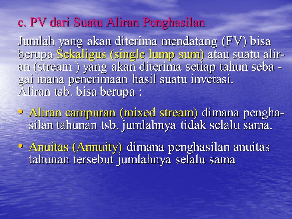 c. PV dari Suatu Aliran Penghasilan