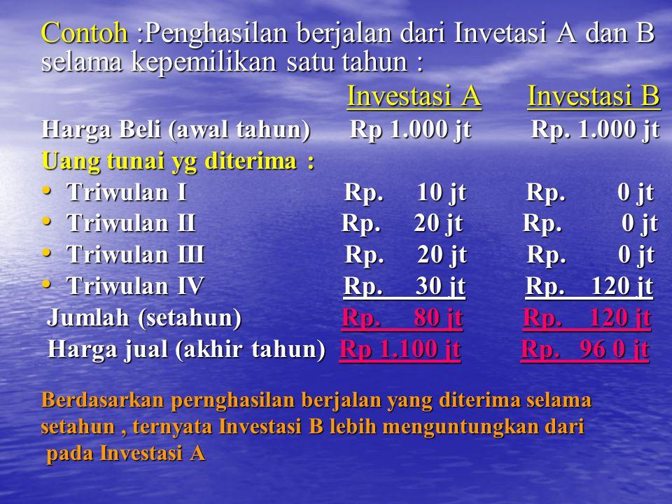 Contoh :Penghasilan berjalan dari Invetasi A dan B