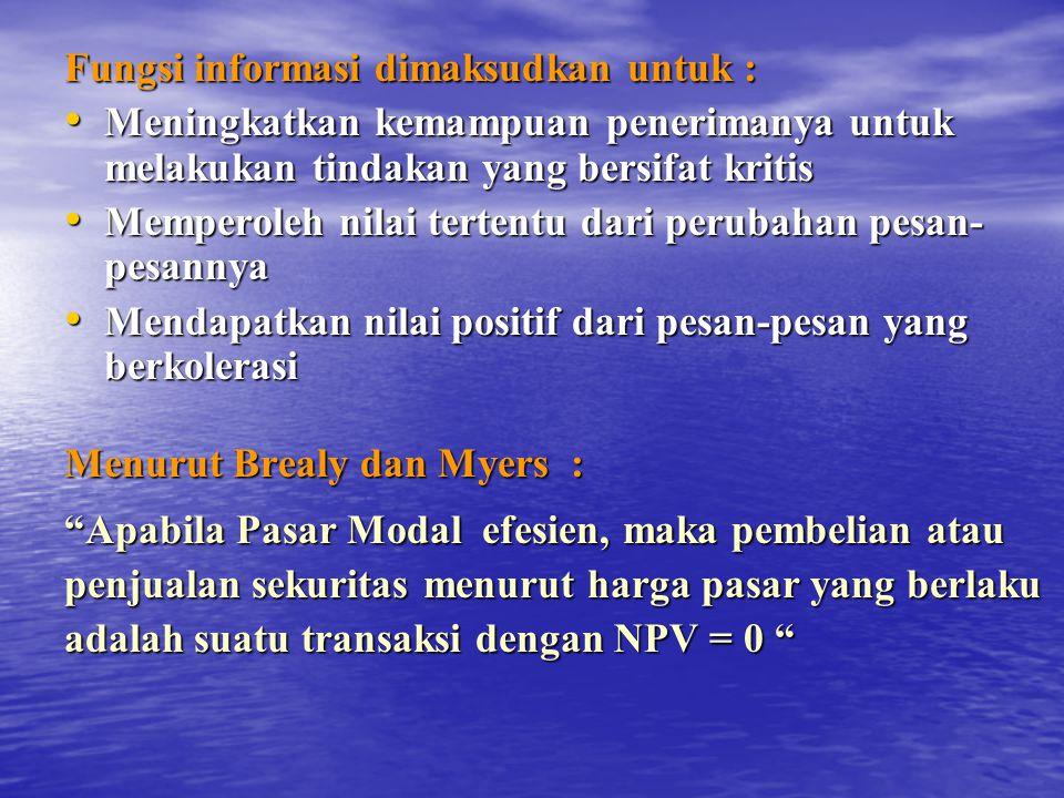 Fungsi informasi dimaksudkan untuk :