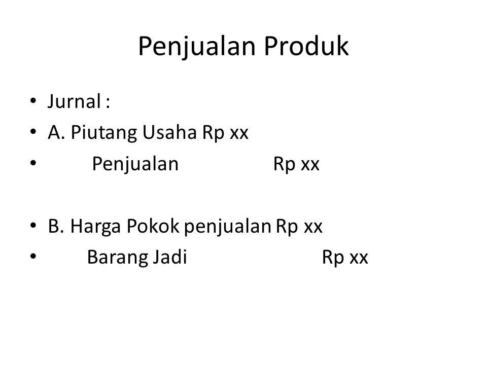 Penjualan Produk Jurnal : A. Piutang Usaha Rp xx Penjualan Rp xx