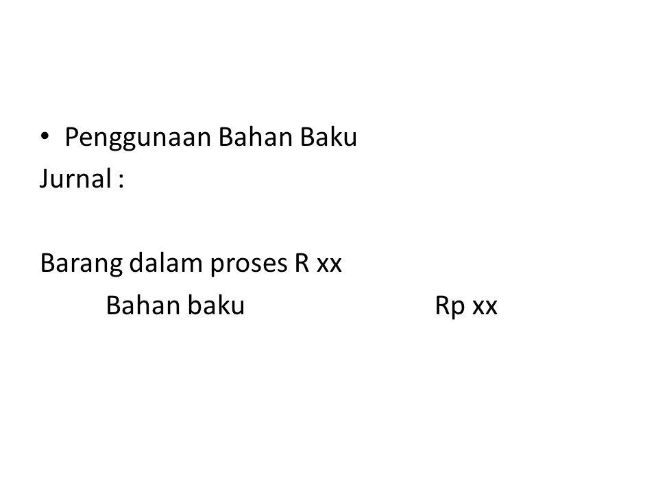Penggunaan Bahan Baku Jurnal : Barang dalam proses R xx Bahan baku Rp xx