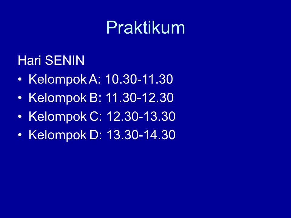Praktikum Hari SENIN Kelompok A: 10.30-11.30 Kelompok B: 11.30-12.30