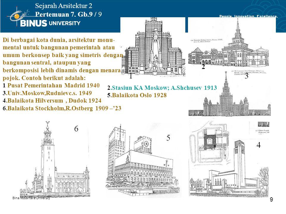 1 3 6 5 4 Sejarah Arsitektur 2 Pertemuan 7. Gb.9 / 9 2