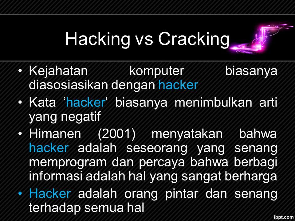 Hacking vs Cracking Kejahatan komputer biasanya diasosiasikan dengan hacker. Kata 'hacker' biasanya menimbulkan arti yang negatif.