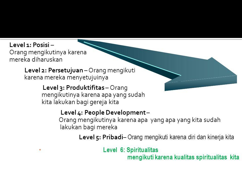 Level 1: Posisi – Orang mengikutinya karena. mereka diharuskan. Level 2: Persetujuan – Orang mengikuti.