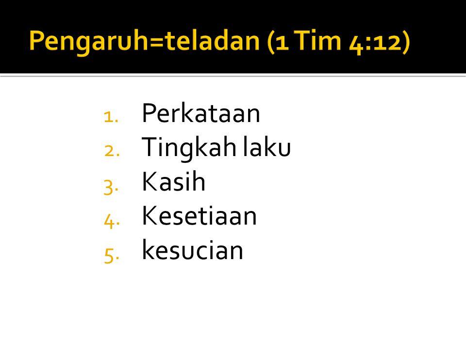 Pengaruh=teladan (1 Tim 4:12)