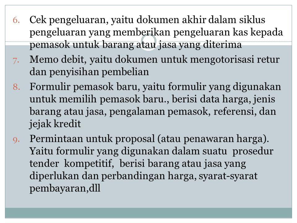 Cek pengeluaran, yaitu dokumen akhir dalam siklus pengeluaran yang memberikan pengeluaran kas kepada pemasok untuk barang atau jasa yang diterima
