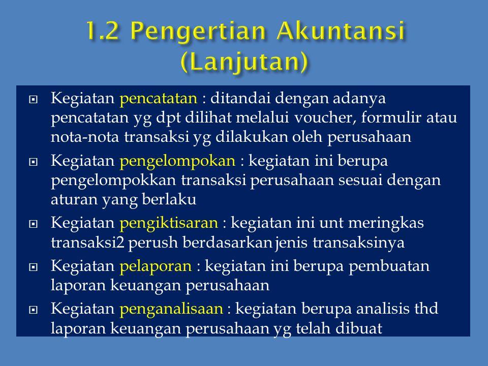 1.2 Pengertian Akuntansi (Lanjutan)