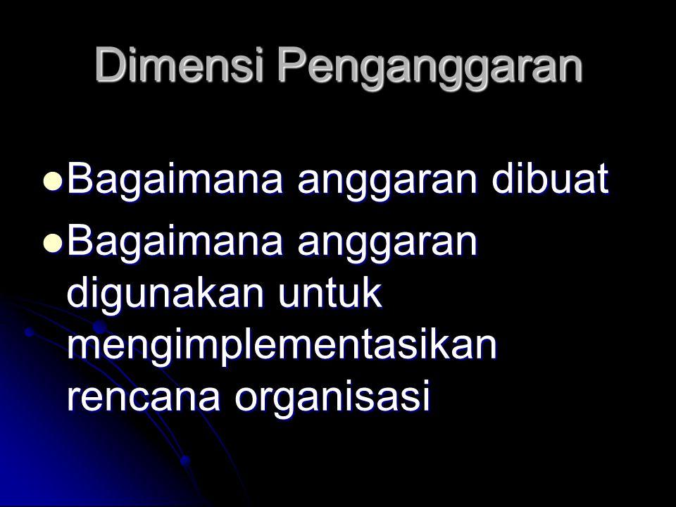 Dimensi Penganggaran Bagaimana anggaran dibuat