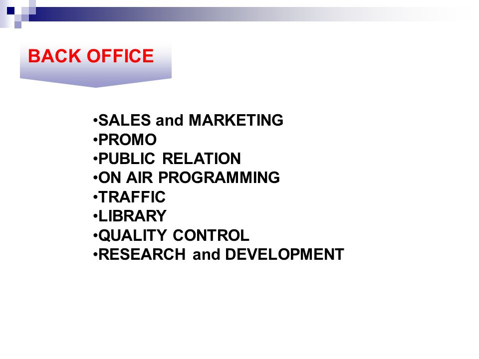 BACK OFFICE SALES and MARKETING PROMO PUBLIC RELATION