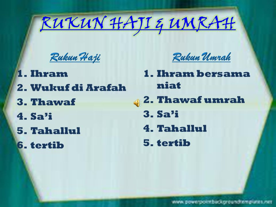 RUKUN HAJI & UMRAH Rukun Haji Rukun Umrah Ihram Wukuf di Arafah Thawaf