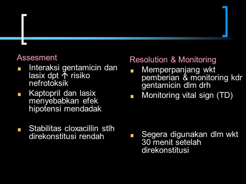 Assesment Interaksi gentamicin dan lasix dpt  risiko nefrotoksik. Kaptopril dan lasix menyebabkan efek hipotensi mendadak.
