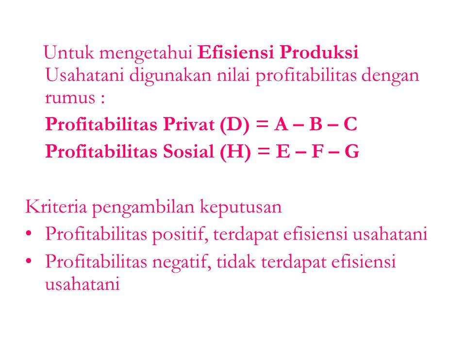 Untuk mengetahui Efisiensi Produksi Usahatani digunakan nilai profitabilitas dengan rumus :