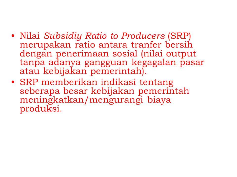 Nilai Subsidiy Ratio to Producers (SRP) merupakan ratio antara tranfer bersih dengan penerimaan sosial (nilai output tanpa adanya gangguan kegagalan pasar atau kebijakan pemerintah).