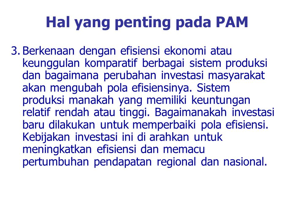 Hal yang penting pada PAM