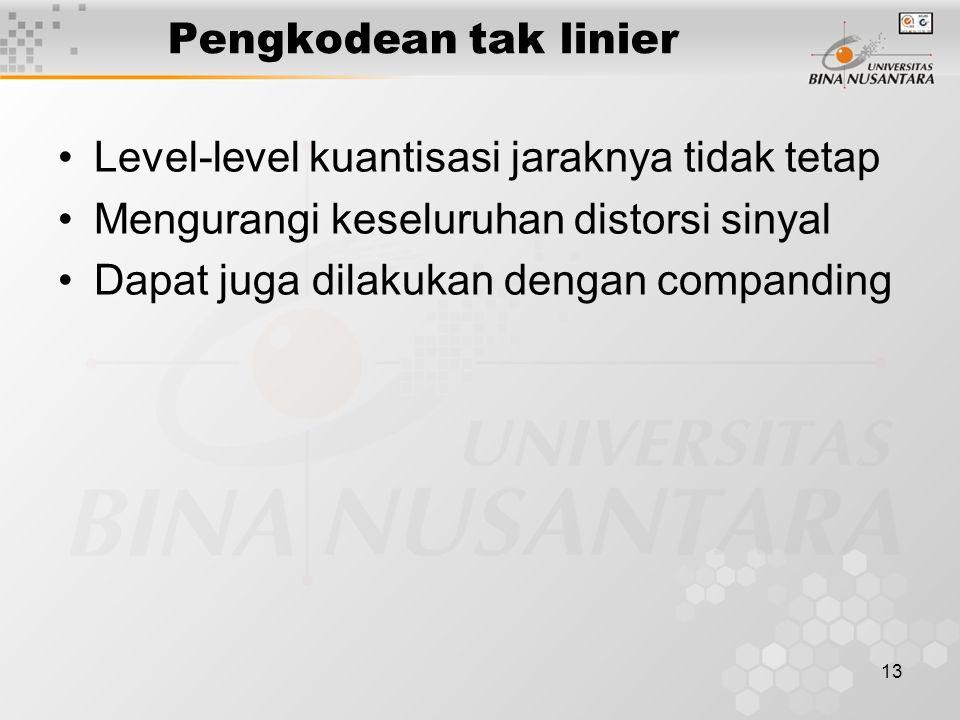 Pengkodean tak linier Level-level kuantisasi jaraknya tidak tetap. Mengurangi keseluruhan distorsi sinyal.