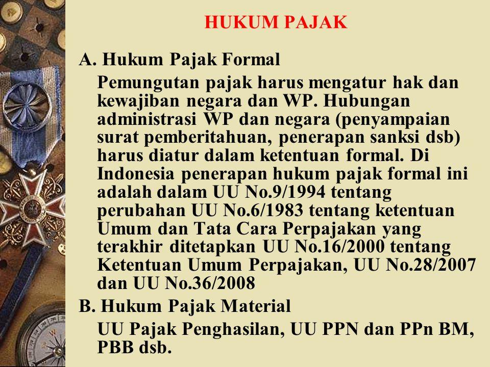 HUKUM PAJAK A. Hukum Pajak Formal.