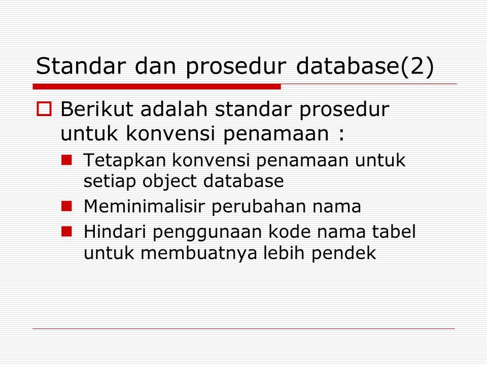 Standar dan prosedur database(2)