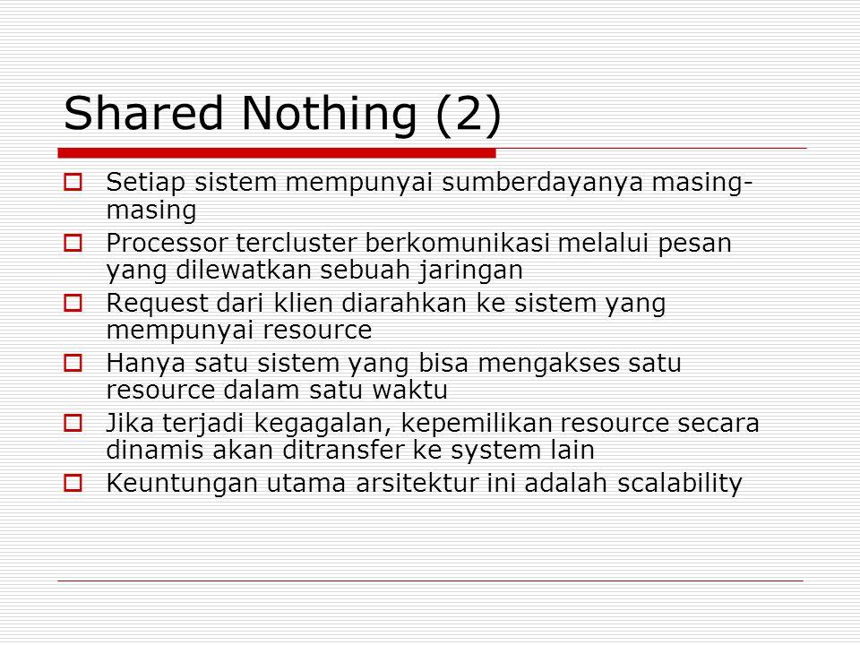 Shared Nothing (2) Setiap sistem mempunyai sumberdayanya masing-masing