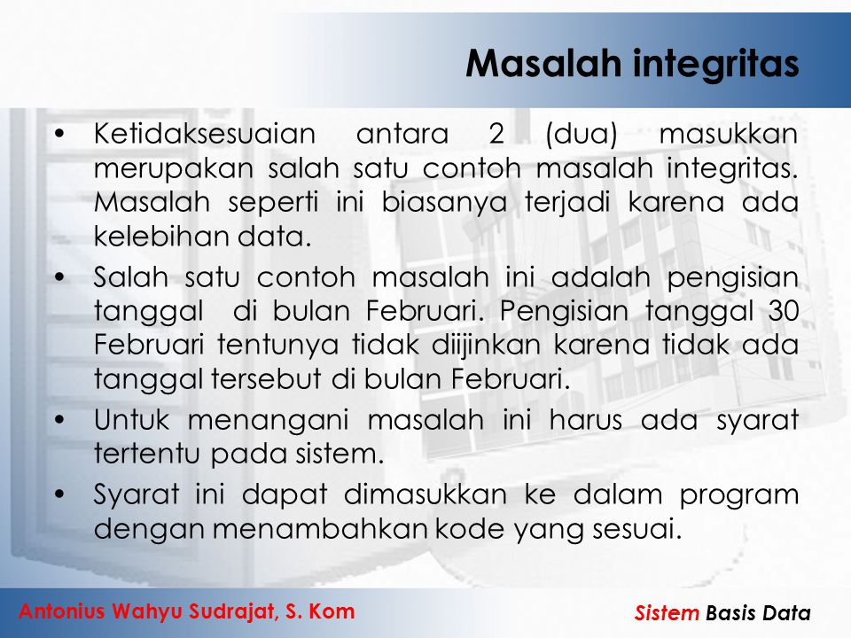 Masalah integritas