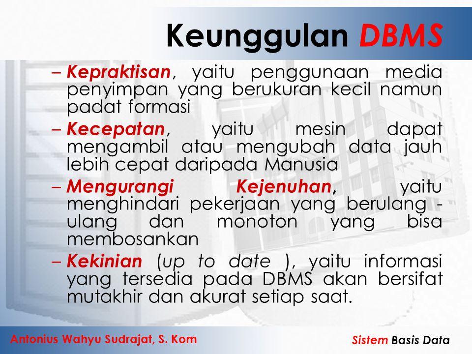 Keunggulan DBMS Kepraktisan, yaitu penggunaan media penyimpan yang berukuran kecil namun padat formasi.