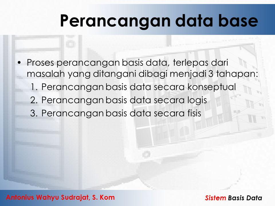Perancangan data base Proses perancangan basis data, terlepas dari masalah yang ditangani dibagi menjadi 3 tahapan: