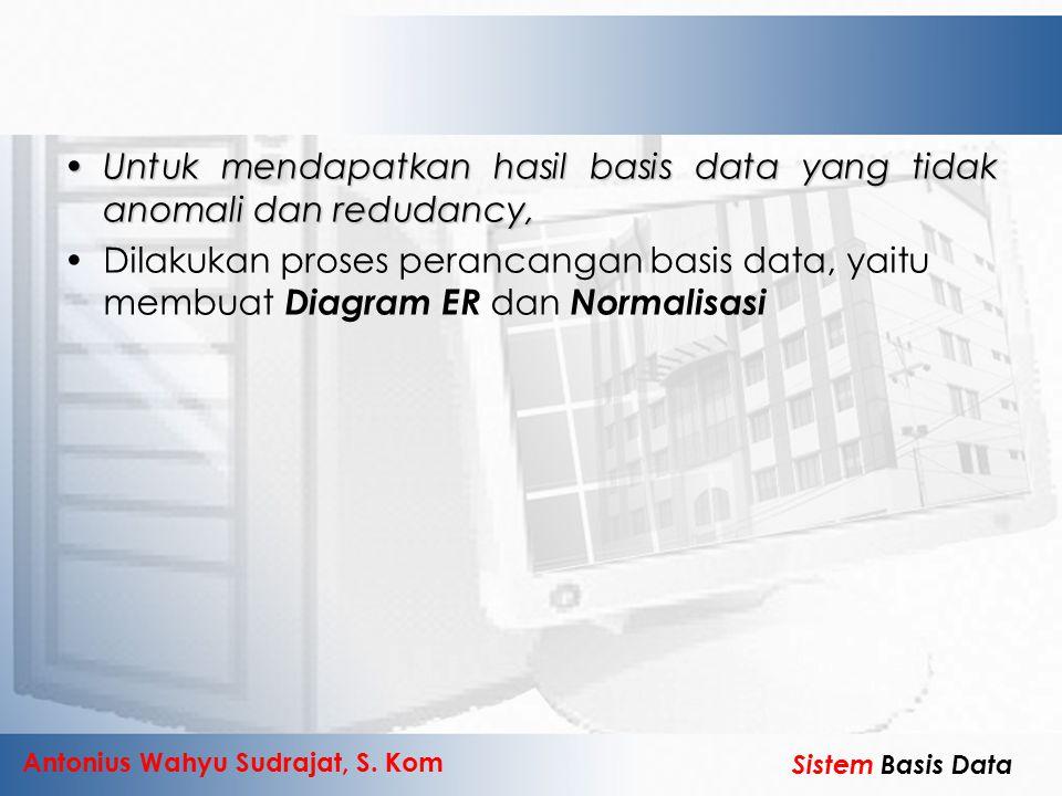 Untuk mendapatkan hasil basis data yang tidak anomali dan redudancy,