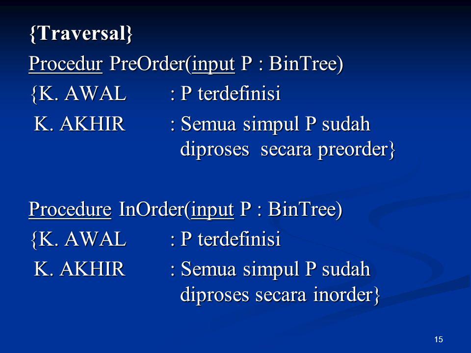 {Traversal} Procedur PreOrder(input P : BinTree) {K. AWAL : P terdefinisi. K. AKHIR : Semua simpul P sudah diproses secara preorder}