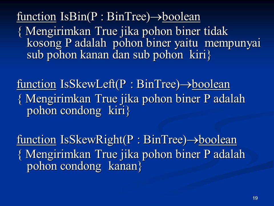 function IsBin(P : BinTree)boolean