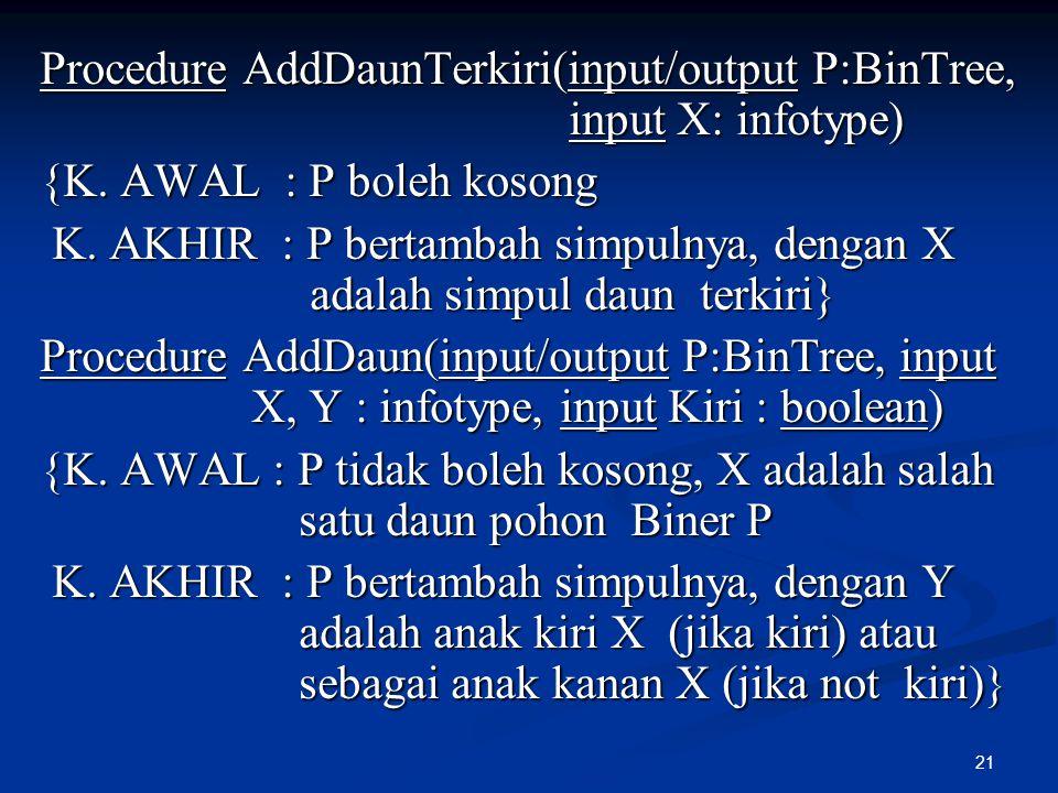 Procedure AddDaunTerkiri(input/output P:BinTree, input X: infotype)